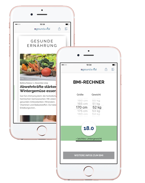 gesund vital App iOS iPhone Android Artikel BMI Body Mass Index Rechner