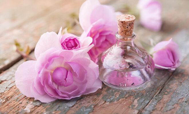 Rosenblüten plus Fläschchen mit Rosenöl