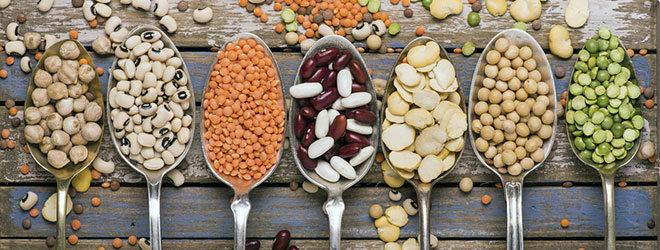 Löffel mit verschiedenen Hülsenfrüchten.