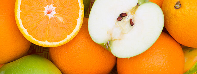 Äpfel und Orangen.