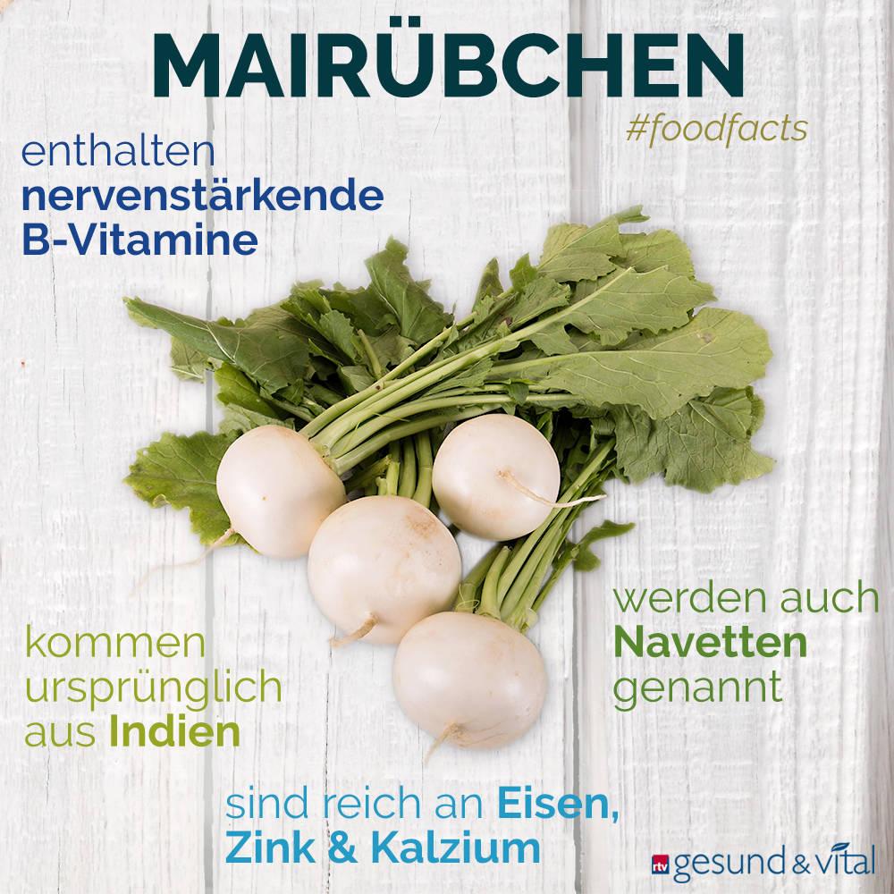 Eine Grafik mit verschiedenen Fakten zu Mairübchen. Sie zeigt Wissenswertes über die gesunden Inhaltsstoffe des Gemüses.