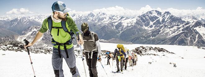 Bergwanderer im Winter.