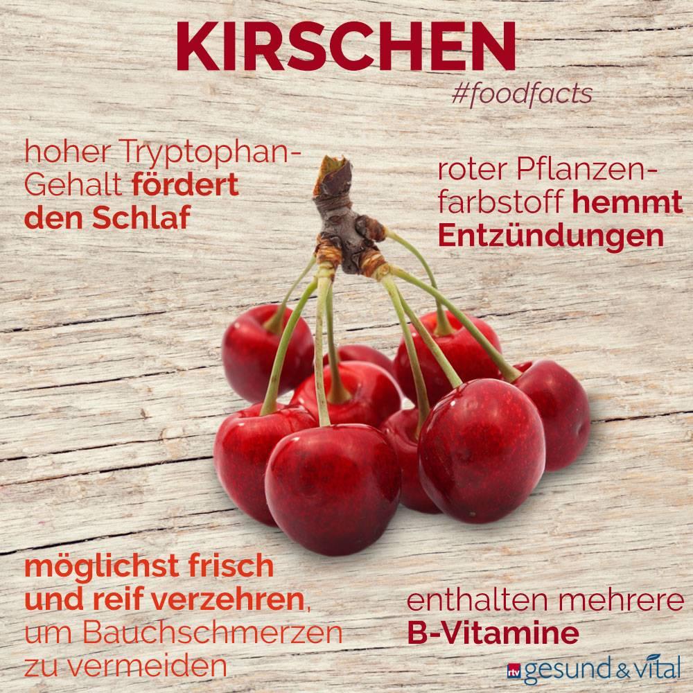 Eine Grafik mit verschiedenen Fakten zur Kirsche. Sie zeigt Wissenswertes über die gesunden Inhaltsstoffe des Obstes.