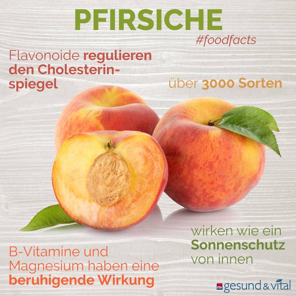 Eine Grafik mit verschiedenen Fakten zum Pfirsich. Sie zeigt Wissenswertes über die gesunden Inhaltsstoffe des Obstes und ihre Wirkung.