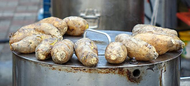 Yamswurzeln auf Kochtopf.