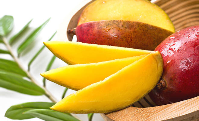 Aufgeschnittene, reife Mango.