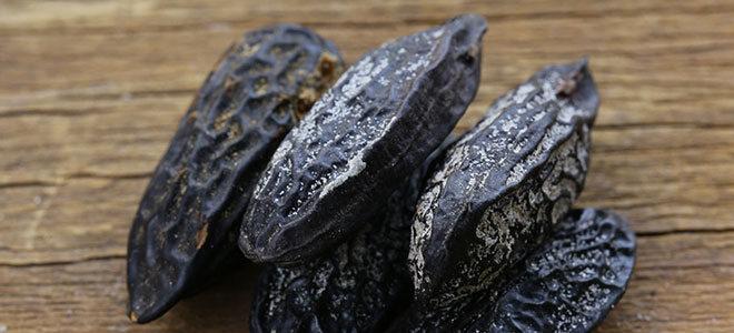 Mehrere Tonkabohnen, sie sehen aus wie dunkle verschrumpelte Mandeln