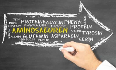 Eine Männerhand schreibt mit weißer Kreide die Namen verschiedener Aminosäuren auf eine dunkle Tafel.