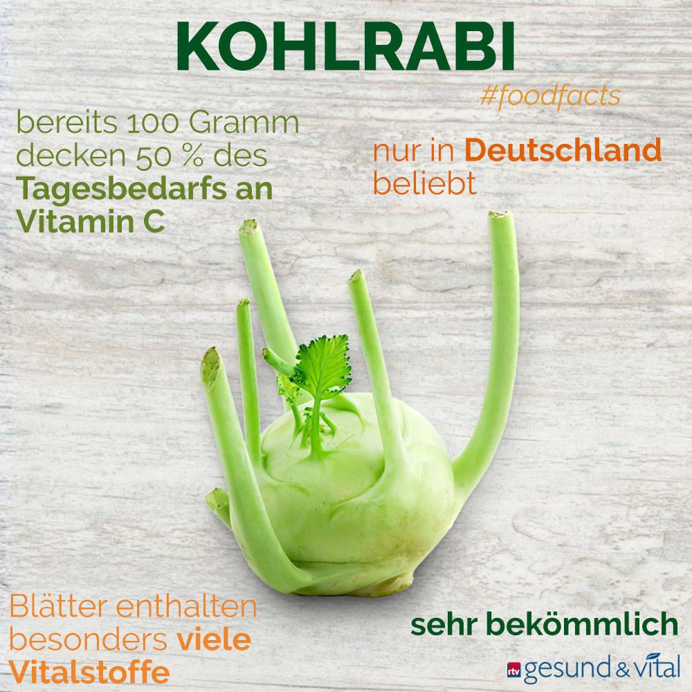 Eine Grafik mit verschiedenen Fakten zu Kohlrabi. Sie zeigt Wissenswertes über die gesunden Inhaltsstoffe des Gemüses.