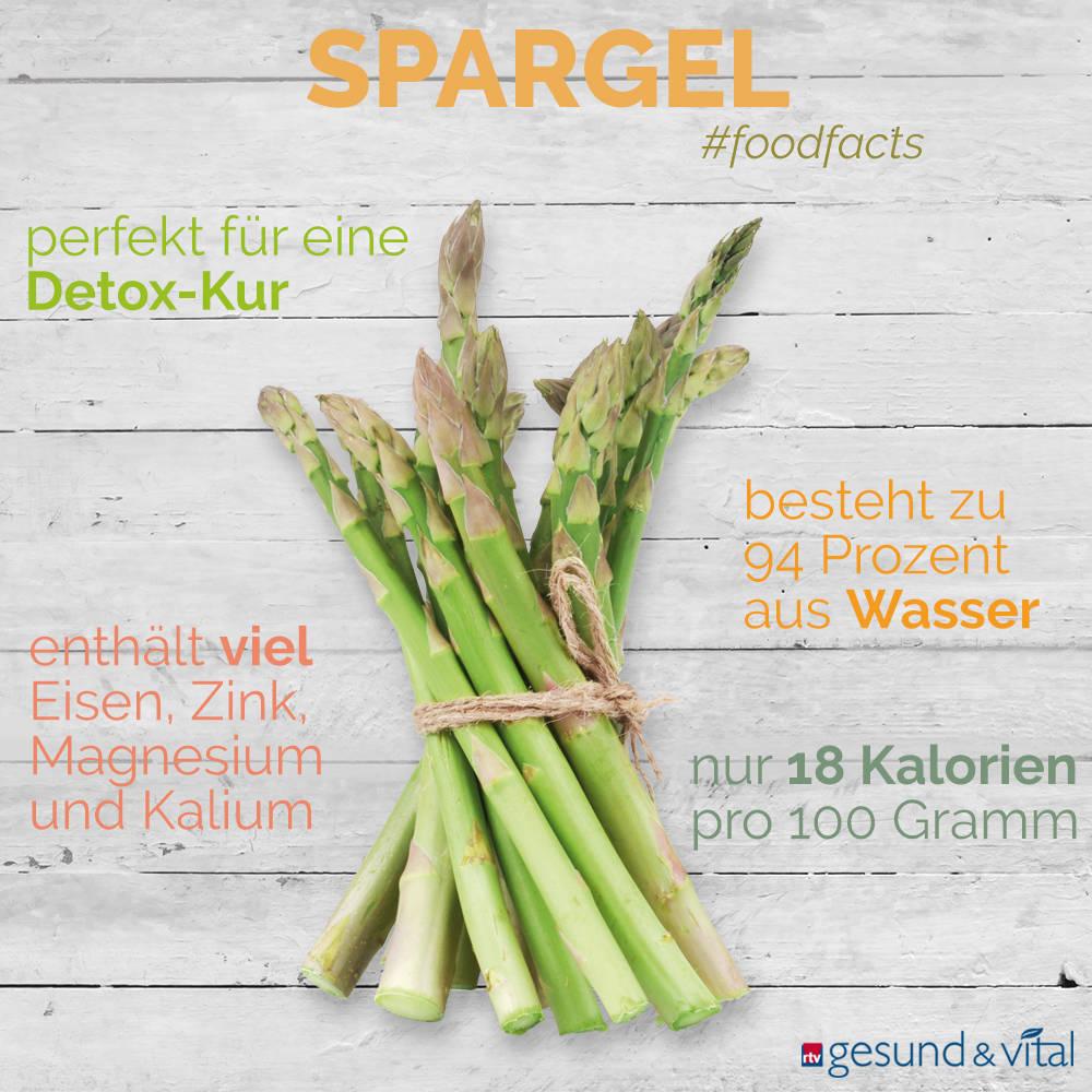 Eine Grafik mit verschiedenen Fakten zu Spargel. Sie zeigt Wissenswertes über die gesunden Inhaltsstoffe und den Kaloriengehalt des Gemüses.
