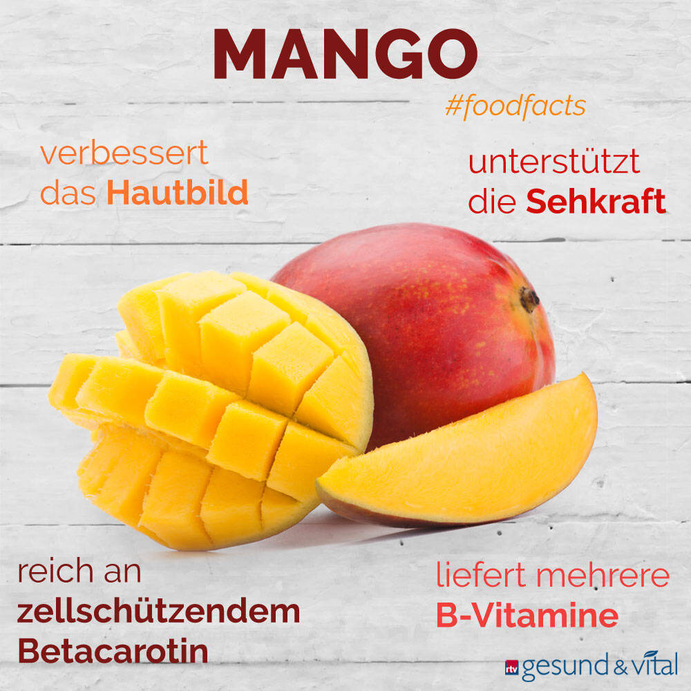 Eine Grafik mit verschiedenen Fakten zu Mangos. Sie zeigt Wissenswertes über die gesunden Inhaltsstoffe und die Wirkung der Tropenfrüchte.