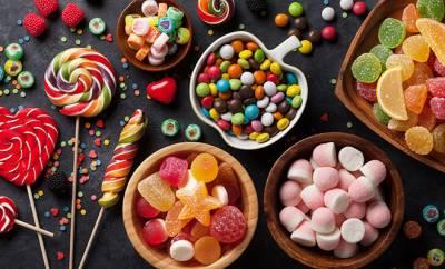 sämtliche Süßigkeiten aufgebaut
