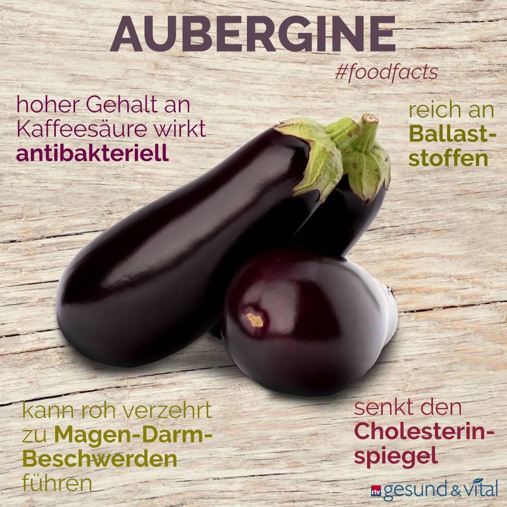 Eine Grafik mit verschiedenen Fakten zur Aubergine. Sie zeigt Wissenswertes über die gesunden Inhaltsstoffe und die Wirkung des Nachtschattengewächses.