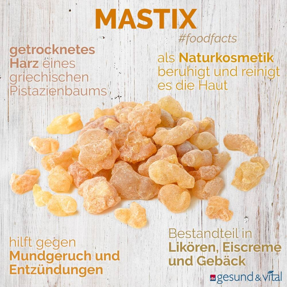 Eine Grafik mit verschiedenen Fakten zu Mastix. Sie zeigt Wissenswertes über die Verwendung des griechischen Baumharzes.