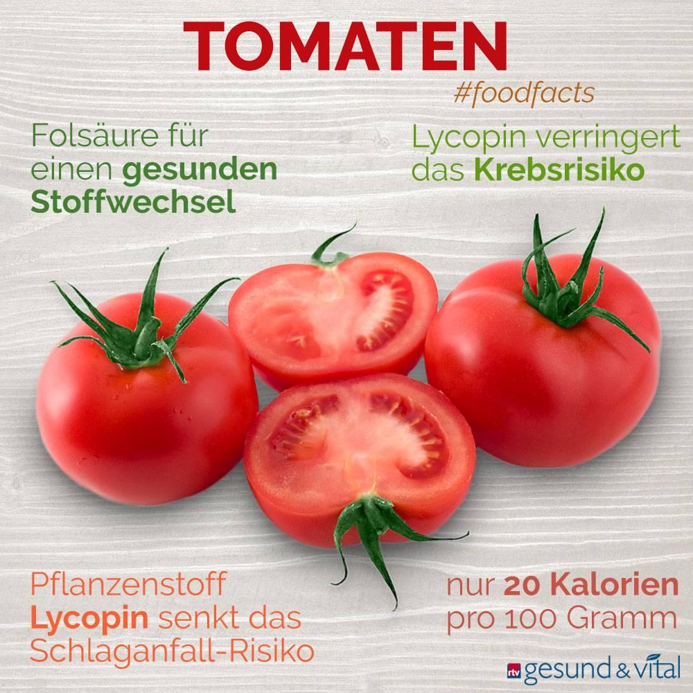Eine Grafik mit verschiedenen Fakten zu Tomaten. Sie zeigt Wissenswertes über die gesunden Inhaltsstoffe und die Wirkung von Tomaten.