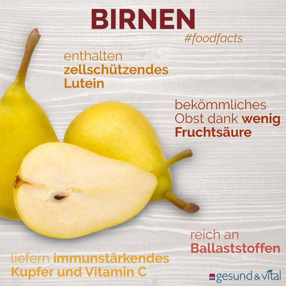 Eine Grafik mit verschiedenen Fakten zu Birnen. Sie zeigt Wissenswertes über die Inhaltsstoffe der Früchte.