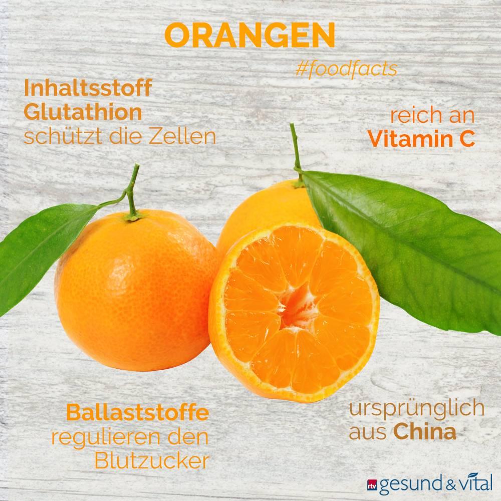 Eine Grafik mit verschiedenen Fakten zur Orange. Sie zeigt Wissenswertes über die gesunden Inhaltsstoffe und den Kaloriengehalt des Obstes