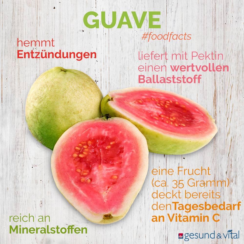 Eine Infografik mit verschiedenen Fakten zu Guaven. Sie zeigt Wissenswertes über die Inhaltsstoffe und Wirkung der tropischen Früchte.