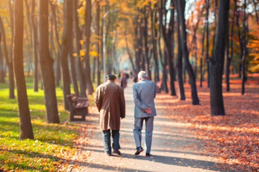 Zwei Senioren gehen in einem Park spazieren