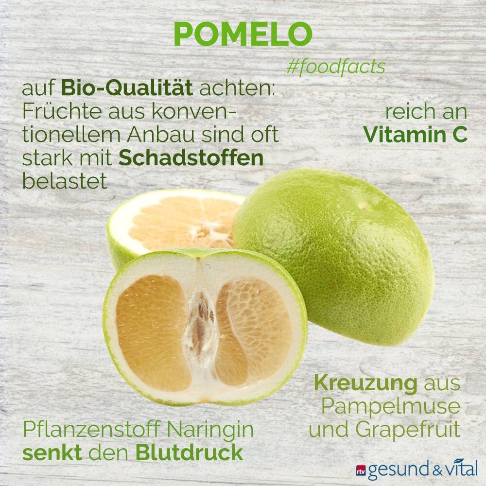 Eine Infografik mit verschiedenen Fakten zur Pomelo. Sie zeigt Wissenswertes über die Inhaltsstoffe und Wirkung der Zitrusfrucht.