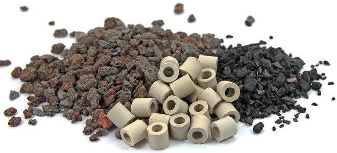 Ökologische Filtermaterialen im Filtersystem, darunter Aktivkohle und Keramik.