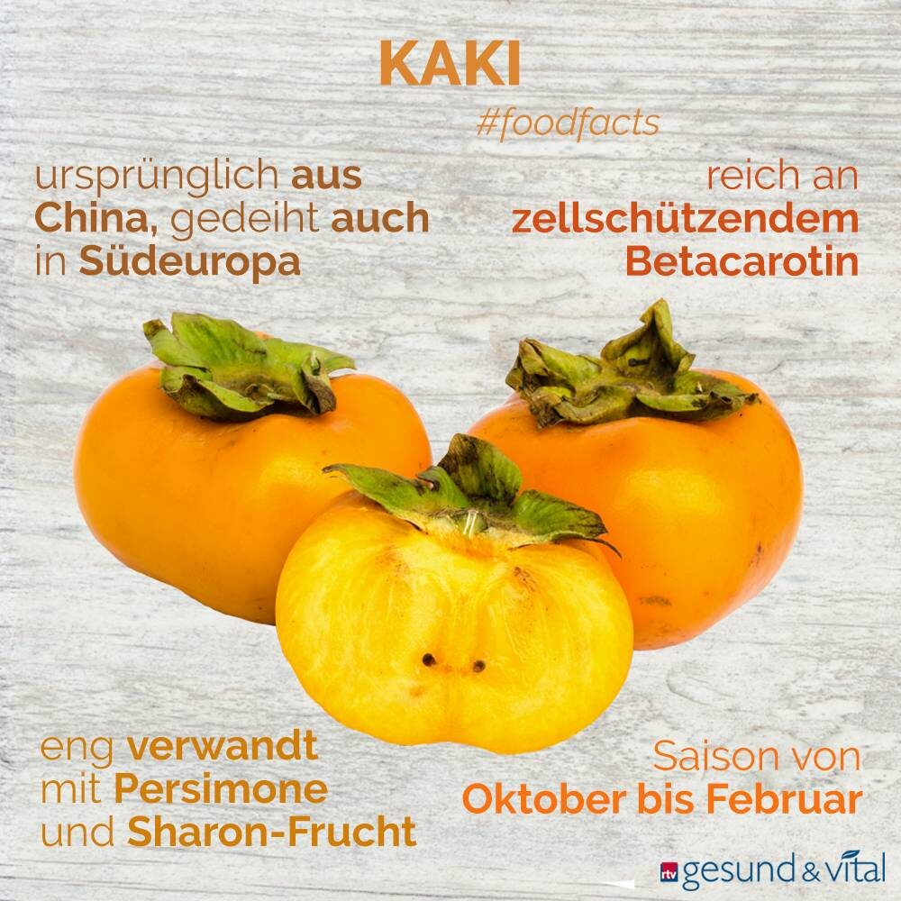 Eine Infografik mit verschiedenen Fakten zur Kaki. Sie zeigt Wissenswertes über die Herkunft und Inhaltsstoffe und Wirkung der Frucht.