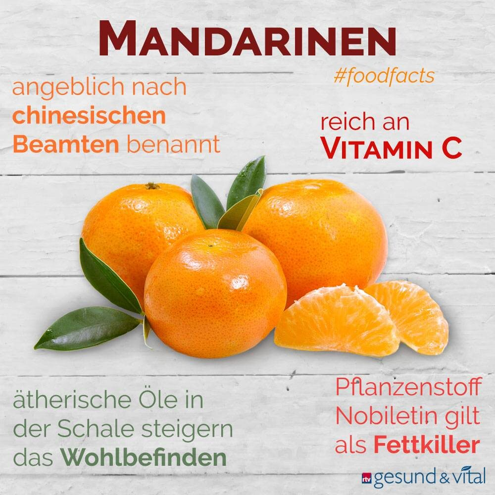 Eine Infografik mit verschiedenen Fakten zu Mandarinen. Sie zeigt Wissenswertes über die Inhaltsstoffe und Wirkung der Zitrusfrüchte.