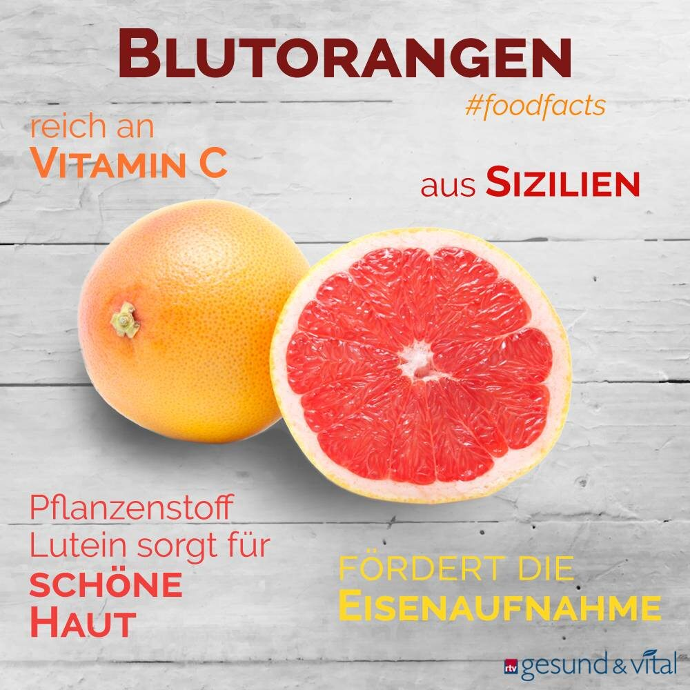 Eine Infografik mit verschiedenen Fakten zu Blutorangen. Sie zeigt Wissenswertes über die Inhaltsstoffe und Wirkung der Zitrusfrüchte.