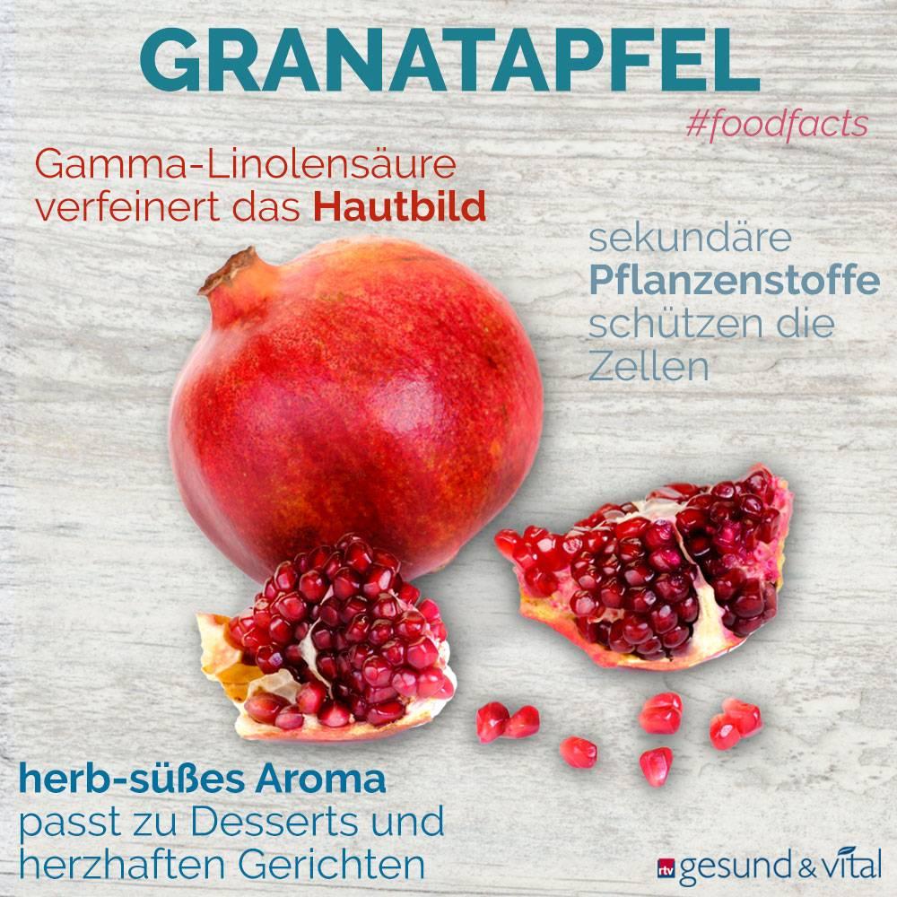 Eine Infografik mit verschiedenen Fakten zum Granatapfel. Sie zeigt Wissenswertes über die Inhaltsstoffe und Wirkung der exotischen Frucht.