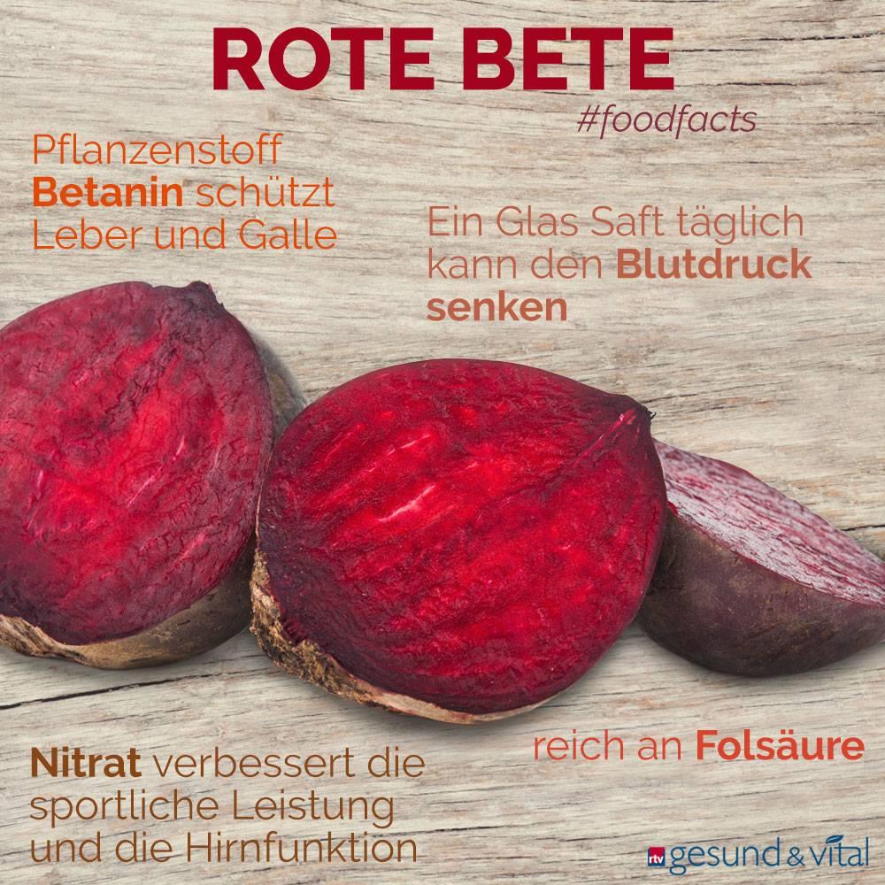 Eine Infografik mit verschiedenen Fakten zu Rote Bete. Sie zeigt Wissenswertes über die Inhaltsstoffe und Wirkung der Rüben.