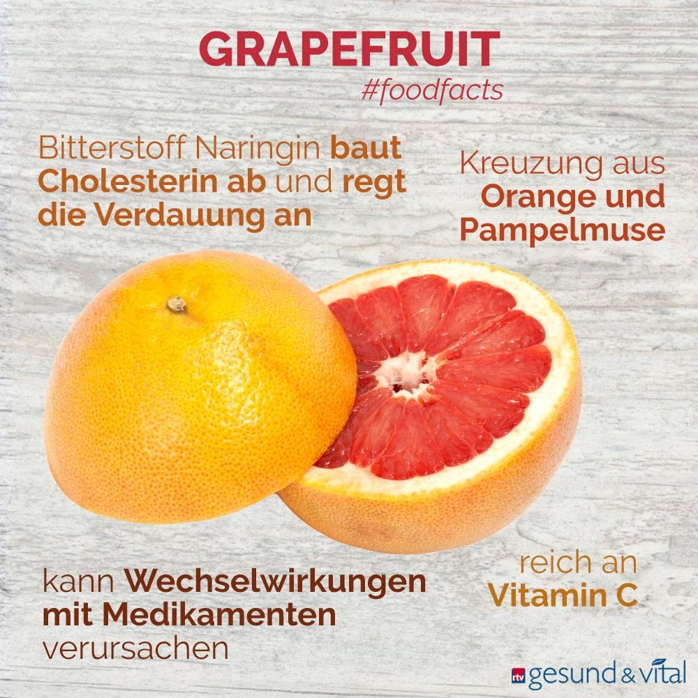 Eine Infografik mit verschiedenen Fakten zur Grapefruit. Sie zeigt u.a. Wissenswertes über die Inhaltsstoffe und Wirkung der Zitrusfrucht.