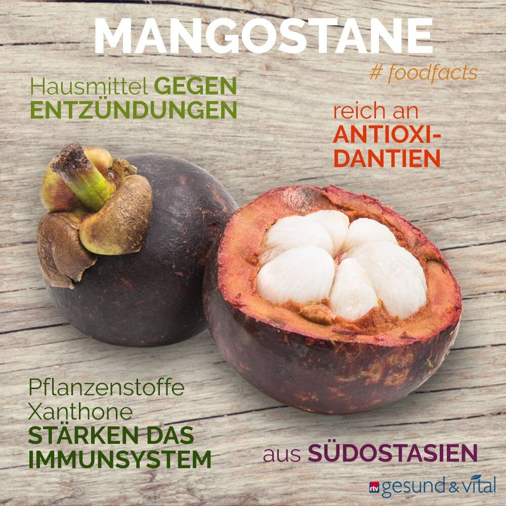 Eine Infografik mit verschiedenen Fakten zur Mangostane. Sie zeigt Wissenswertes über die Inhaltsstoffe und Wirkung der exotischen Frucht.