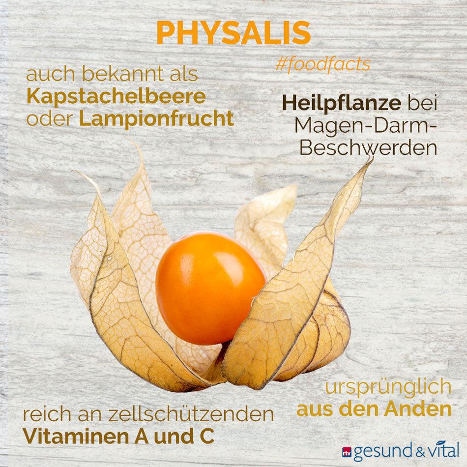Eine Infografik mit verschiedenen Fakten zur Physalis. Sie zeigt u.a. Wissenswertes über die Inhaltsstoffe und Wirkung der Beere.