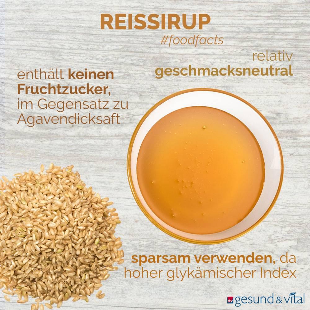 Eine Infografik mit verschiedenen Fakten zu Reissirup. Sie zeigt u.a. Wissenswertes über die Inhaltsstoffe des Süßungsmittels.