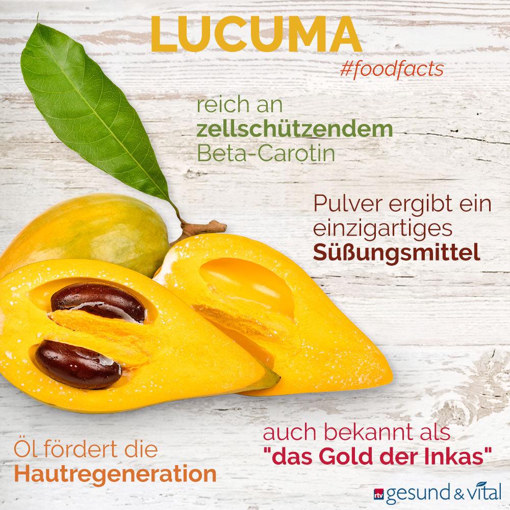 Eine Infografik mit verschiedenen Fakten zu Lucuma. Sie zeigt u.a. Wissenswertes über die Inhaltsstoffe und Wirkung der südamerikanischen Frucht.