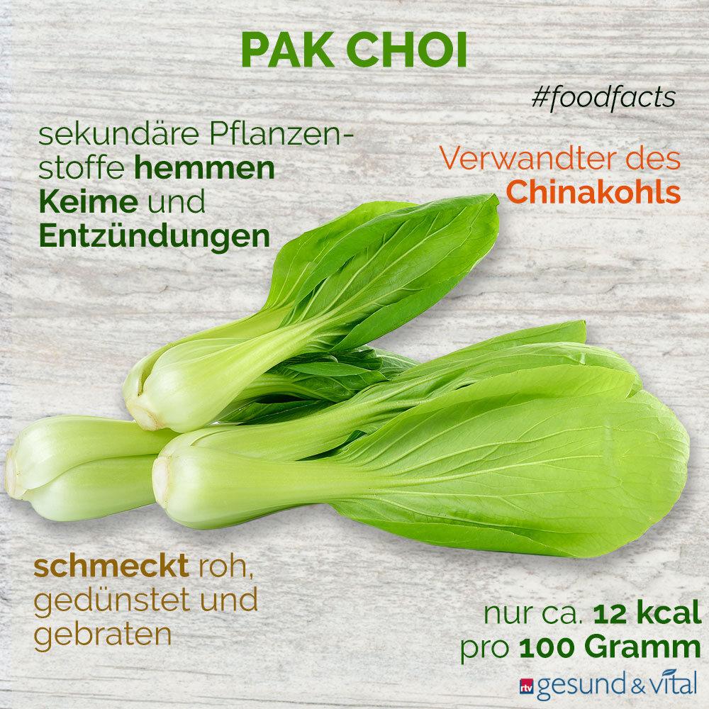 Eine Infografik mit verschiedenen Fakten zu Pak Choi. Sie zeigt u.a. Wissenswertes über den Geschmack und die Inhaltsstoffe des Kohls.