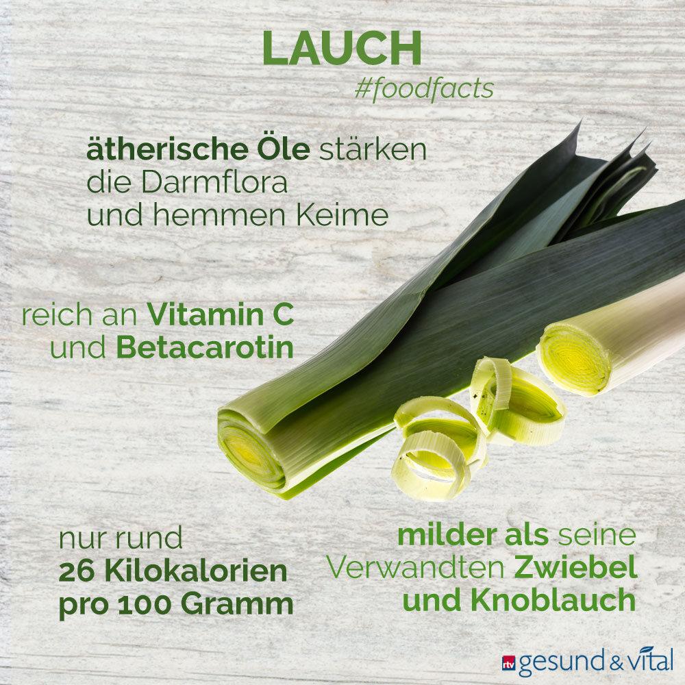 Eine Infografik mit verschiedenen Fakten zu Lauch bzw. Porree. Sie zeigt u.a. Wissenswertes über die Inhaltsstoffe und Wirkung von Lauch.