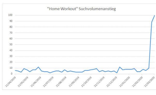 """Eine Statistik zum Suchvolumenanstieg des Wortes """"Home Workout"""""""