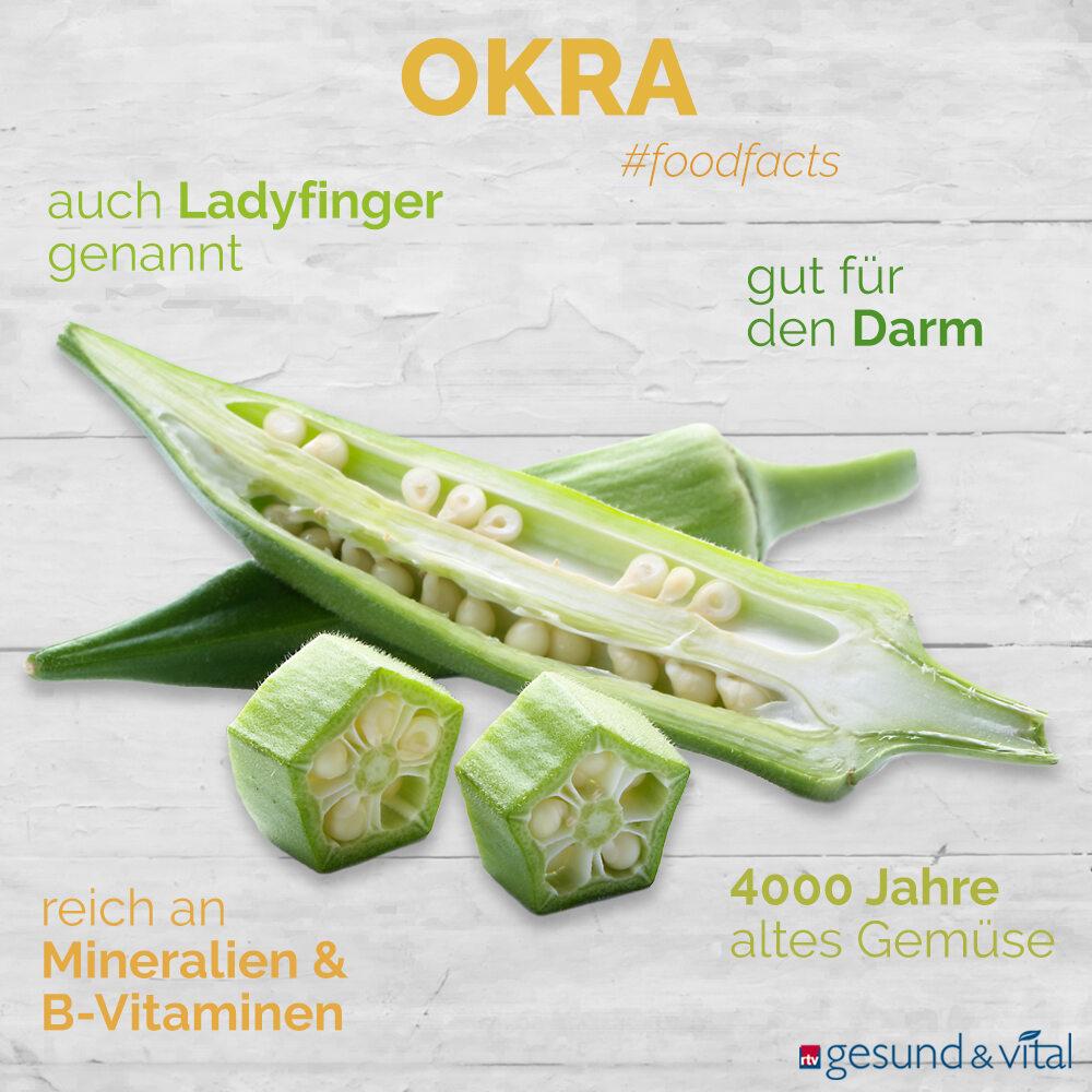 Eine Infografik mit verschiedenen Fakten zu Okra. Sie zeigt u.a. Wissenswertes über die Inhaltsstoffe und Wirkung der Schoten.
