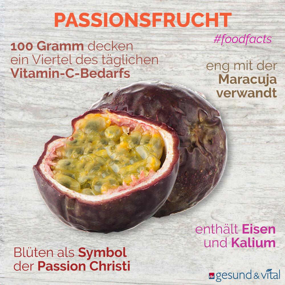 Eine Infografik mit verschiedenen Fakten zur Passionsfrucht. Sie zeigt u.a. Wissenswertes über die Inhaltsstoffe der Passionsfrucht.