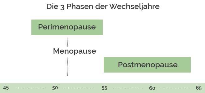 Eine Grafik mit den verschiedenen 3 Phasen der Wechseljahre: Perimenopause, Menopause und Postmenopause.