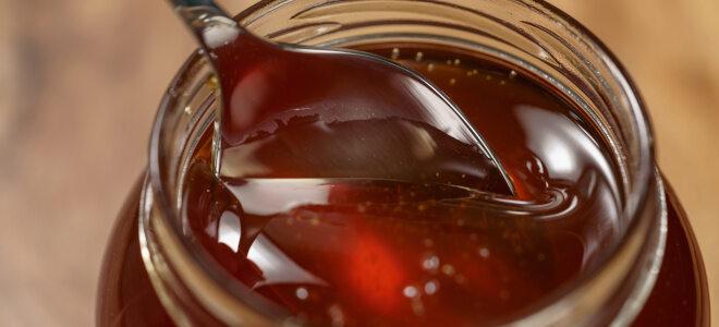 Ein Löffel, der in ein Honigglas mit dunklem Waldhonig eintaucht