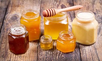 Sechs Gläser mit verschiedenen Honigsorten