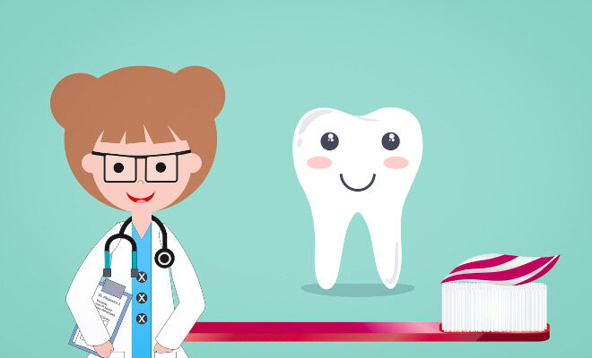 Eine Zahnärztin, ein Zahn und eine Zahnbürste im Comicstil dargestellt